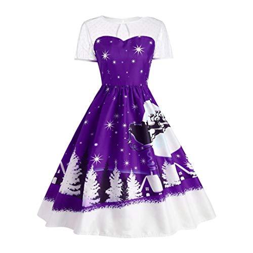 Weihnachtskleid,Transwen Damen Vintage O-Neck Printed Kurzarm A-Linie Swing Kleid Weihnachtsdeko Cocktailkleid Weihnachtsmann Festlich Kleid (S, Lila)