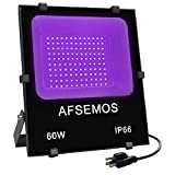LED Black Light,High Power 60W LED Flood Light,AFSEMOS IP66-Waterproof with Plug for Black Lights Parties,Birthdays,Glow in The Dark,Stage Lighting,Poster Fluorescent Effect,Curing