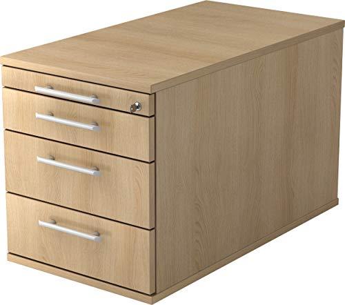 bümö® Rollcontainer 80 cm tief in Eiche mit 3 Schüben, Schloss & Schreibwaren Schublade | Bürocontainer aus Holz | Tischcontainer mit Rollen | Büro Container für Ihren Schreibtisch