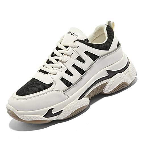Moda All-Match Casual Comfort Mujer Zapatillas Gruesas con Cordones Zapatos Deportivos con amortiguación en la Parte Inferior Suave Zapatos Deportivos para Exteriores para Mujer