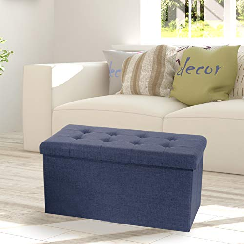 Seville Classics Foldable Tufted Storage Bench Ottoman, Midnight Blue