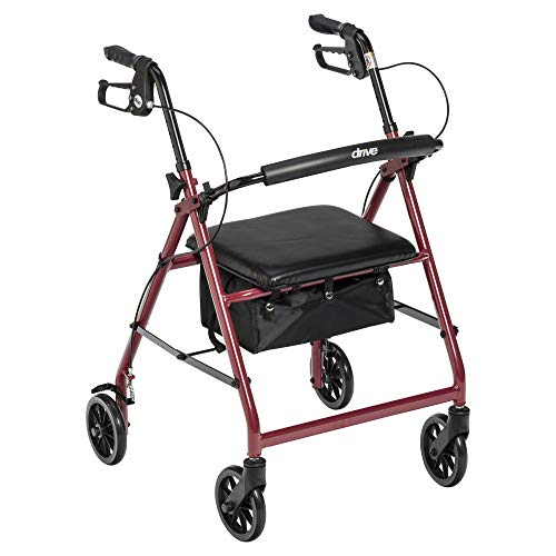 """Drive Medical Aluminum Rollator Walker Fold Up and Removable Back Support, Padded Seat, 6"""" Wheels, Red"""