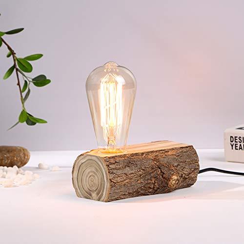 WRMING Tischlampe Holz Antik E27 Vintage Tischleuchte, Landhausstil Schlafzimmer Nachttischlampe, Esstisch Landhaus Schreibtischlampe, E27 Fassung, Kippschalter, Wohnzimmer Lampe