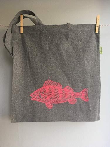 Einkaufstasche mit Barsch aus recycelter Baumwolle mit Siebdruck per Hand bedruckt, Recyclingtasche