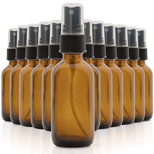 1790 Bernsteinglas-Flaschen für ätherische Öle, 57 ml, kleine Glasflaschen, Glasflaschen für ätherische Öle, Mini-Sprühflasche (12 Stück)