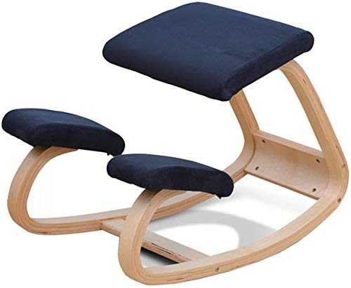 Kneeling Chair, Ergonomic Rocking Kneel Seat Mobile, Relieving Stress Backs Neck Pain, Posture Correcting Wood Knee Stool for Home Office Good Posture Computer Stool,Blue