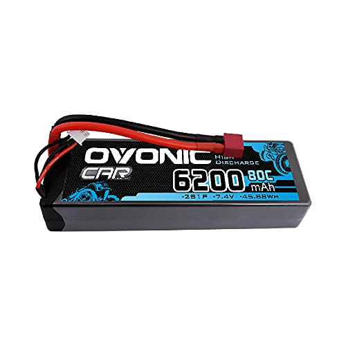 OVONIC Batteria LiPo 6200mAh 7,4V 2S 80C con presa Deans per camion 1/8 e 1/10 RC