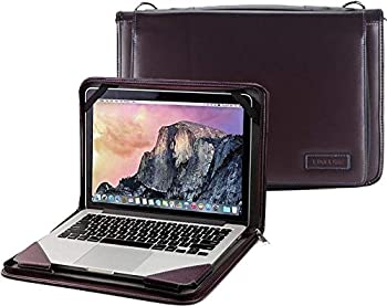 Broonel Purple Leather Laptop Messenger Case - Compatible with The ASUS C201PA-DS02 11.6 inch Chromebook