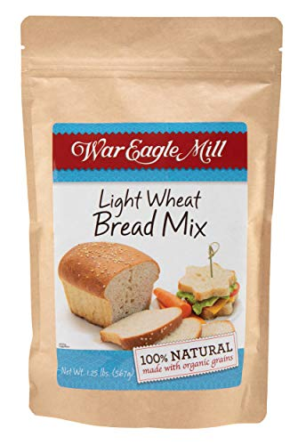 War Eagle Mill Light Wheat Bread Mix, all natural, made with organic, non-GMO flour; great for hand baking or in the bread machine - in a resealable bag (1.25 lb)