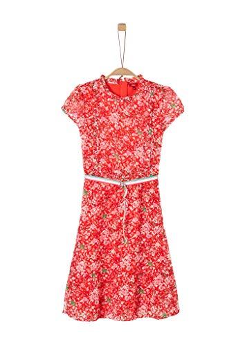 s.Oliver RED Label Mädchen Blumenkleid aus Crinkle-Chiffon red AOP 146.REG