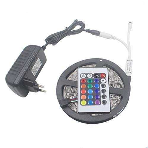 DZHT Tira de LED 5050 2835 IP20 Tira RGB 5m 10m 15m 20m Luz LED Cinta de Cinta Flexible DC 12V Cinta RGB Adaptador de Controlador IR (Color : RGB 2835, Size : 15M Full Set)