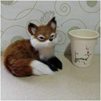 フォックスモデル置物-シミュレーションスクワットフォックスモデルシミュレートされた動物モデル-かわいいリアルなぬいぐるみシミュレーション動物モデル-家の装飾のためのデスクトップの装飾子供のおもちゃギフトモデル