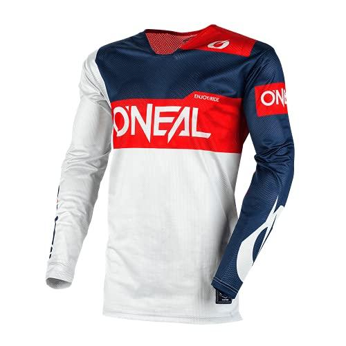 O'NEAL | Motocross-Jersey | MX MTB Mountainbike | Kragenloses Design, Bündchenlose Ärmel, leichtes Performance-Material | Airwear Jersey Freez | Erwachsene | Grau Blau Rot | Größe M