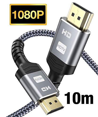 HDMI Kabel 10M-Snowkids High Speed HDMI Kabel aus Geflochtenem Nylon Unterstützt 3D/Audio Rückkanal/HDMI Kabel für Blu-ray, Xbox, Xbox 360, PS3, PS4 Player, HD TV und Bildschirmgeräte-Grau