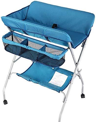 Babycommode Commode Folding Diaper Station for Infant Pasgeboren Peuter, in hoogte verstelbaar Dresser met Wheels Babyverzorging tafel (Color : Blue)