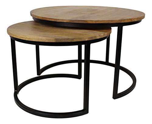 HSM Collection Ronin grote set van 2, hout, natuurlijk top/zwart metaal, 70 x 70 x 46 cm