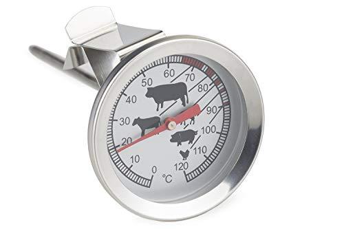 Einstechthermometer Edelstahl analog Kerntemperatur messen mit Garpunkt Markierungen Brot Braten Steak