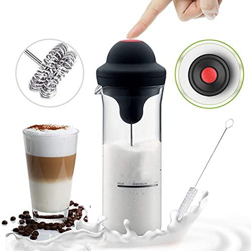 Montalatte Elettrico,RunSnail Frullino Elettrico Mini schiuma per cappuccino,frappe,matcha,cioccolata calda con 450ml/17.7 once Borosilicato Tazza di vetro e Pennello pulito