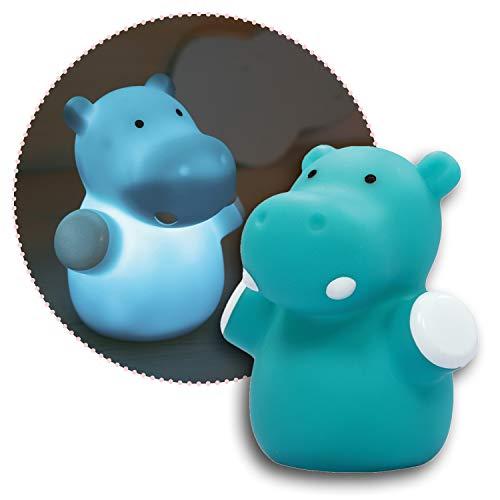 Reer lumilu Mini Zoo Hippo, süßes Nilpferd-Nachtlicht, tolles Taufgeschenk, Geburtstags-Geschenk für Jungen und Mädchen 52353 blau