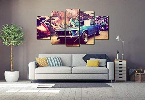 ELSFK Wall art canvas 5 Piece Wall Art Picture Beauty Sport Car Prints On Canvas Pictures For Home Modern Decoration HD Print Decor For Living Room,bedroom etc wall Decoration 150cm x 80cm