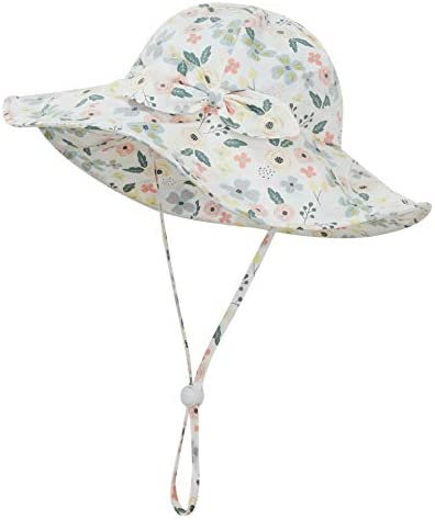 EAU LAYAMEN Baby Girl Sun Hat Summer Beach Hats with UPF 50 Toddler Infant with Wide Brim Strap product image