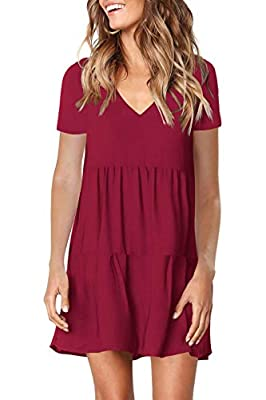 FAVALIVE Womens Casual Loose Short Sleeve V Neck Solid Color Dress