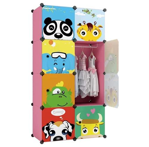 Erweiterbares Kinderregal Kinder Kleiderschrank Stufenregal Bücherregal mit Türen, tiefere Fächer für mehr Platz, 148 x 71 x 38 cm