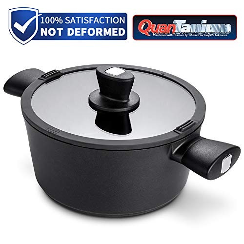 Stock Pot 5.5 Quart, Cooking Pot with Tempered Glass Lid with 2 Soup Filters,6mm Forged Cast Aluminum Soup Pot, 3-Layer No-stick Coating, Induction Compatible/Gift Box Included