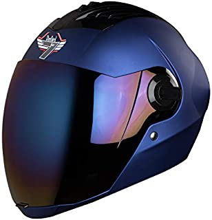 Steelbird SBA-2 7WINGS Full Face Helmet In Matt Finish with Tinted Visor (Large 600 MM, Matt Y Blue/Ir. Blue Visor)