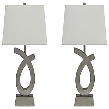 Ashley Furniture Signature Design - Amayeta Table Lamps - Set of 2 - Artistic Base - Silver Finish