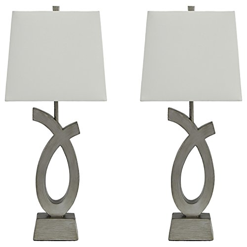 Signature Design by Ashley - Amayeta Table Lamps - Set of 2 - Artistic Base -  Silver Finish