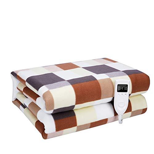 YOGANHJAT Elektrische heizdecke mit Timer, 3 Temperatursstufen 220V Timer 180X200cm Weich Wärmedecke Fixierung auf Bett und Matratze