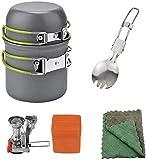 Juego utensilios cocina al aire libre, Set de estufa de picnic Set de olla de cocción al aire libre Potable Ligerable Mini Camping Utensilios de cocina 1-2 Personas para cocinar al aire libre Verde