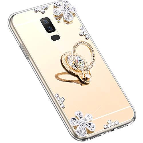 Uposao Kompatibel mit Samsung Galaxy A6 Plus 2018 Hülle Silikon Spiegel Handyhülle Schutzhülle mit 360 Grad Ring Ständer Glitzer Kristall Strass Diamant Mädchen Handy Tasche Silikon Hülle Case,Gold