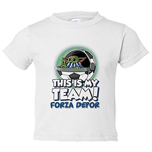Camiseta niño parodia baby Yoda mi equipo de fútbol Forza Depor - Blanco, 7-8 años
