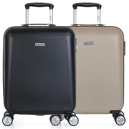ITACA - Set 2 Maletas de Viaje Rígidas 4 Ruedas 55x40x20 cm Cabina Trolley abs. Equipaje de Mano Ligeras. Mango Asa Candado. Low Cost. T58050P, Color Negro/Champagne