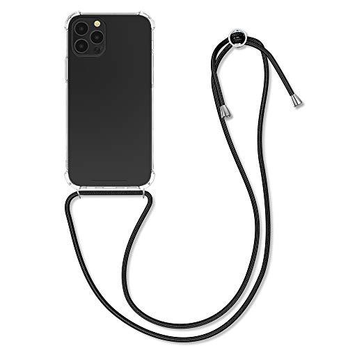 kwmobile Hülle kompatibel mit Apple iPhone 12/12 Pro - mit Kordel zum Umhängen - Silikon Handy Schutzhülle Transparent Schwarz