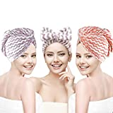 Hair Towel, Topwey 3 Pack Microfiber Hair Towel with Bow Headband, 3 Minutes Magic Instant Dry Hair Towel, Microfiber Quick Dry Hair Towel, Dry Hair Hat, Shower Hair Wrap for Wet/Long/Curly/Thick Hair