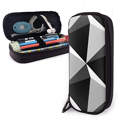 Bolígrafo,Bolígrafos 3D De Cuero En Blanco Y Negro Con Forma De Triángulo Bolso Perfecto Para Llaves Bolso Para Teléfono Móvil Bolígrafo Para Suministros De Oficina,20X9X4Cm