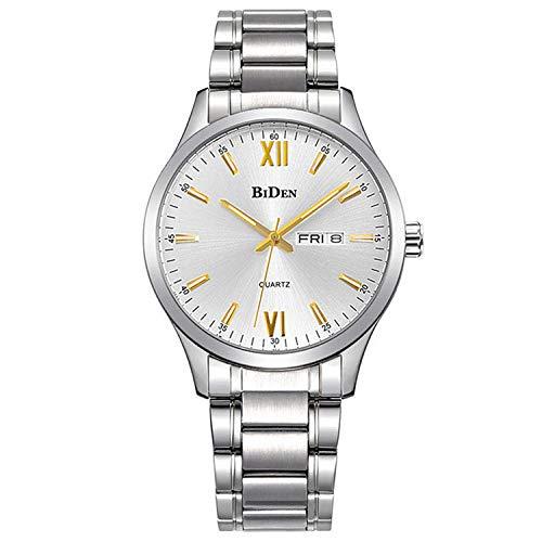Reloj de Pulsera cronógrafo Impermeable de Reloj de Cuarzo para Hombre, Fecha automática -C