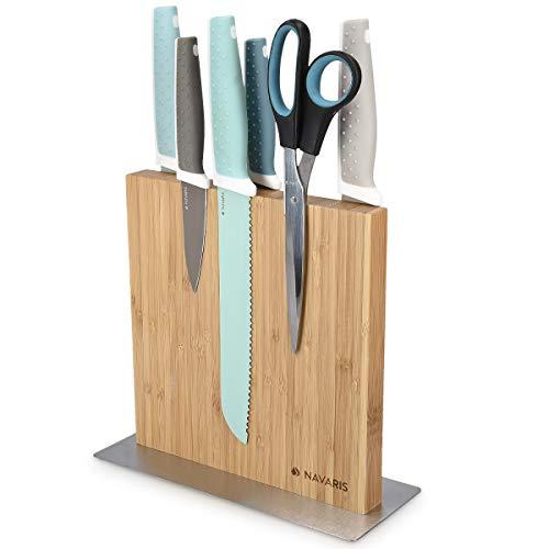 Navaris Messerhalter doppelseitig magnetisch aus Bambus - Magnet Messerblock Messerbrett Magnethalter beidseitig - Messer Halterung unbestückt
