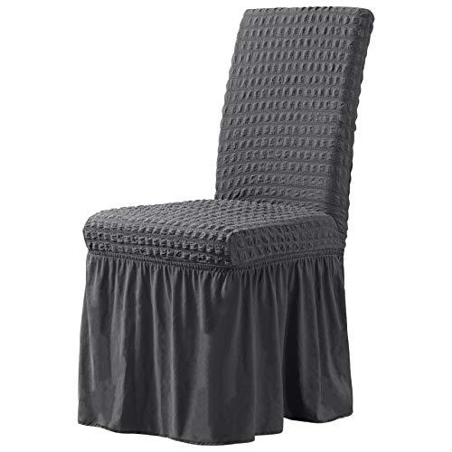 CHUN YI Stuhlhussen Stretch Stuhlbezug mit Rock 2er Set, Universal Waschbar Möbelschutz für Kinder Haustiere Hauszeremonie Bankett Hochzeitsfeier (2 Stück, Grau)