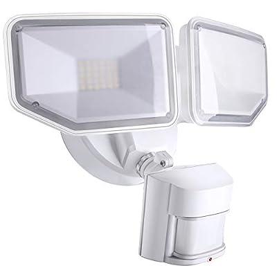 AIDEL 40W LED Flood Light - Motion Sensor Security Light Outdoor, 4000 Lumens 5000K Daylight White IP65 Waterproof, ETL Certified 2 Adjustable Heads Flood Lights Outdoor for Garage, Yard, Entryways