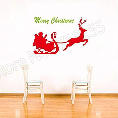 Ajcwhml Calcomanía de Pared Ciervos Feliz Navidad Vacaciones Feliz Navidad Pegatina decoración del hogar remoción calcomanía de Vinilo - 67X99CM-67X99CM
