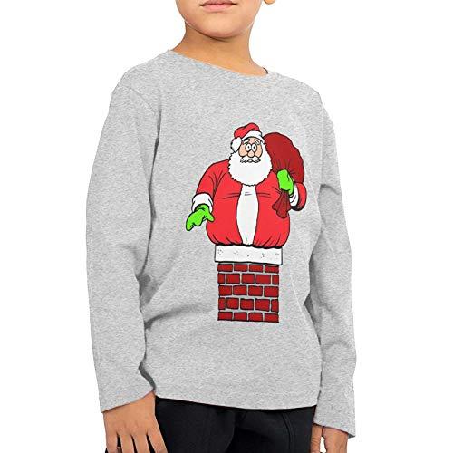 Santa Claus Stuck in Chimney T-Shirt Teen Shirt Round Collar Sport Sweatshirt Tee for Boy Girl's Gray