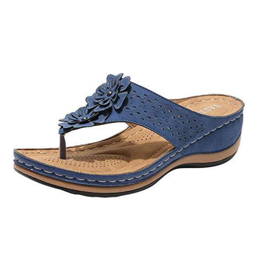 YWLINK Sandalias De CuñA para Mujer Ahuecar Flores Chanclas De Playa Bohemia Verano Sandalias Planas De Gran TamañO Zapatillas Antideslizantes(Azul,40EU)