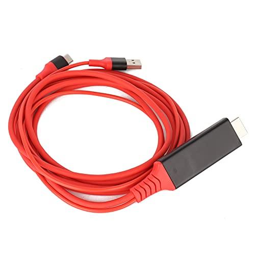 Lazmin112 Cable Adaptador de Interfaz Multimedia Tipo C a Alta definición, Cable de Carga USB 3.1 Duradero de teléfono a TV, 6 pies de Largo, Carga de alimentación de Soporte(Rojo)