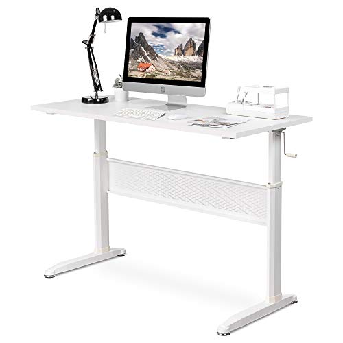 DEVAISE Adjustable Height Standing Desk, 55 Inch Sit Stand Up Desk Workstation with Crank Handle for Office Home, White