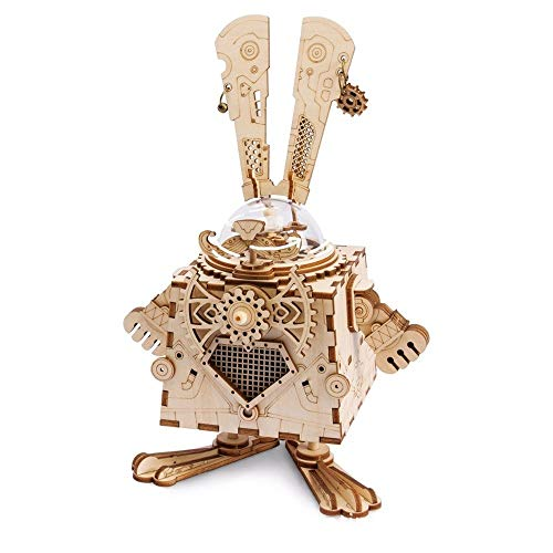 Muziekdoos Gifts 3D Robot Music Box DIY Vergadering Mechanical Musical Boxes Hout Ambacht Retro Christmas Birthday for Boy Kid TONGDAUR (Color : Bunny, Size : Free)