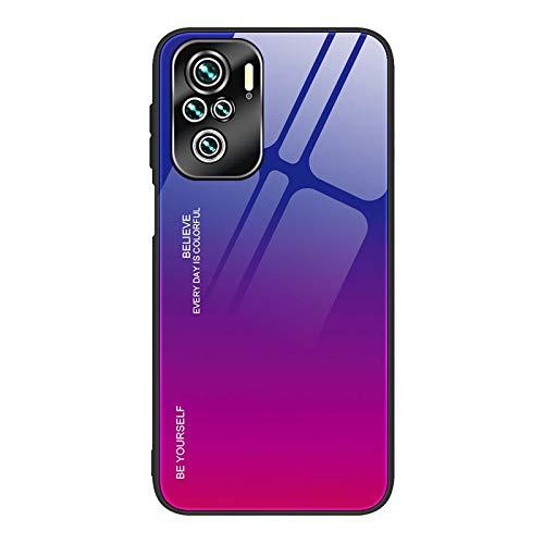 KERUN Funda de Cristal de Color Degradado para Xiaomi Redmi Note 10 Pro, Carcasa con Marco de TPU Silicona y Dorso de Vidrio Templado, Ultra Slim Cover Case - 4